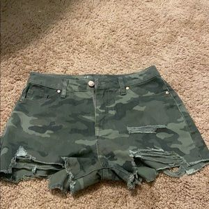 Camo ripped jean shorts never worn